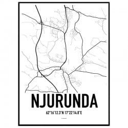 Njurunda Karta Poster