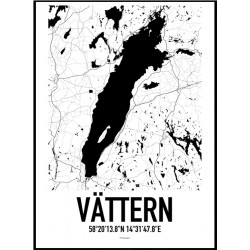 Vättern Karta Poster