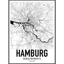 Hamburg Karta Poster