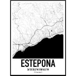 Estepona Karta Poster