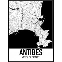 Antibes Karta Poster