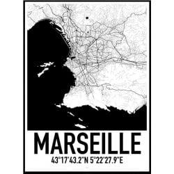 Marseille Karta Poster