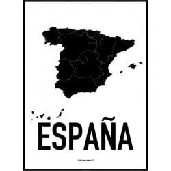 Spanien Karta Poster