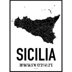 Sicilien Karta Poster