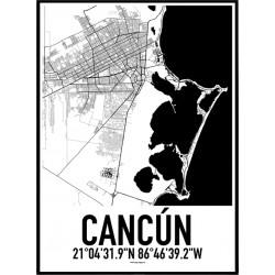 Cancún Karta Poster