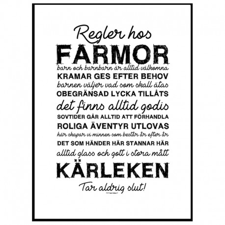 Farmors Regler Poster