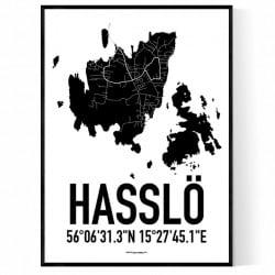 Hasslö Karta Poster