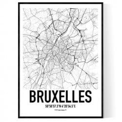 Bryssel Karta Poster