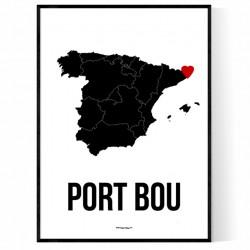 Port Bou Karta Poster