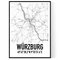Würzburg Karta Poster