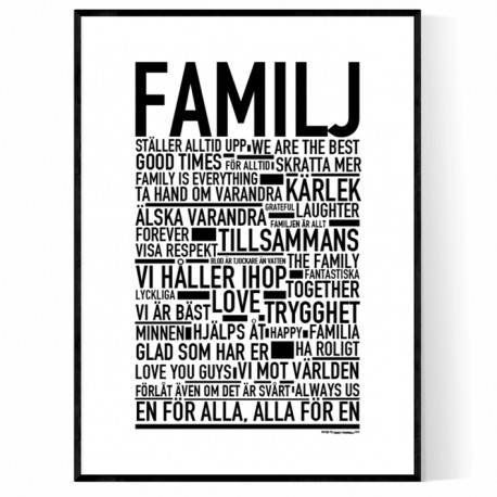 familj poster text tavlor och text posters online. Black Bedroom Furniture Sets. Home Design Ideas