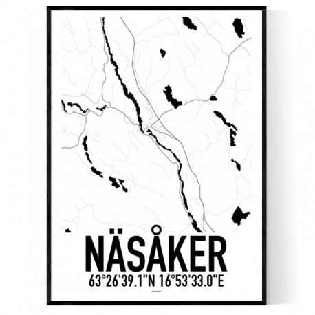 Näsåker Karta Poster
