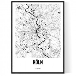 Köln Karta Poster