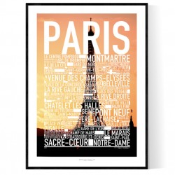 Paris Sunset Text Poster