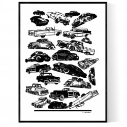 Old USA Cars Poster