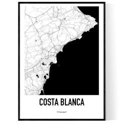 Costa Blanca Karta Poster