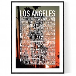 Los Angeles Palms Sunset Poster