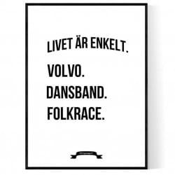 Volvo Dansband Folkrace Poster