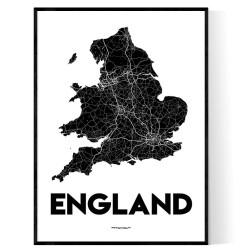 England Karta Poster