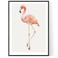 Single Flamingo Poster