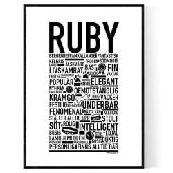 Ruby Hundnamn Poster