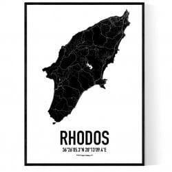 Rhodos Karta Poster