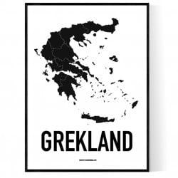 Grekland Karta Poster