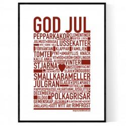God Jul Burgundy Poster