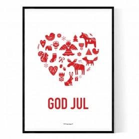 Gud Jul Hjärta Poster