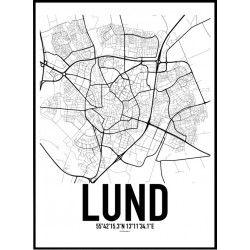 Lund Karta Poster