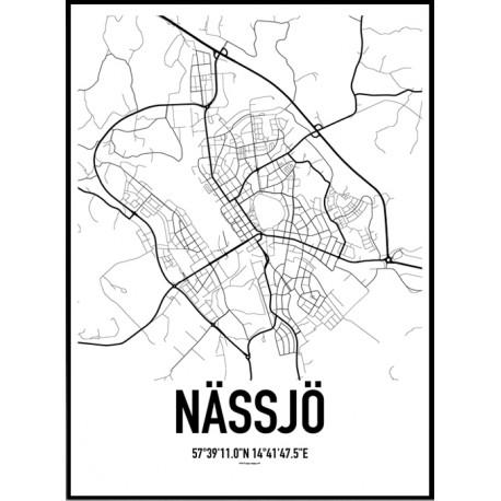 Nässjö Karta Poster