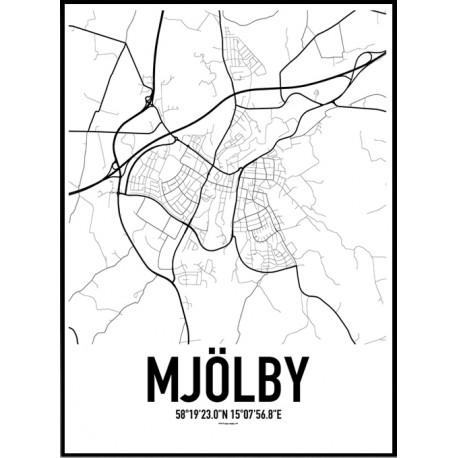 Mjölby Karta Poster