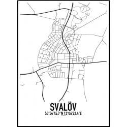 Svalöv Karta Poster