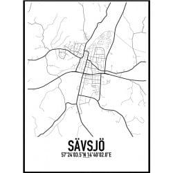 Sävsjö Karta Poster