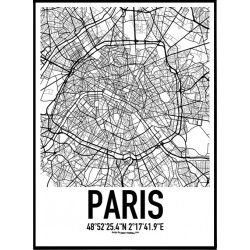 Paris Karta Poster