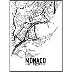 Monaco Karta Poster