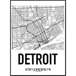 Detroit Karta Poster