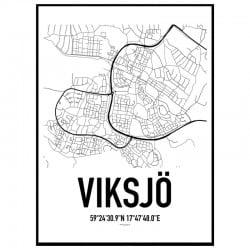 Viksjö Karta Poster