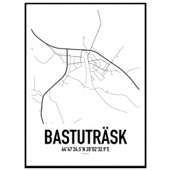 Bastuträsk Karta Poster