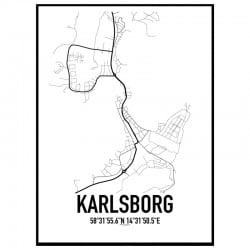 Karlsborg Karta Poster